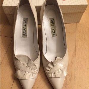Versani vintage leather ruffle heels shoes-Italy